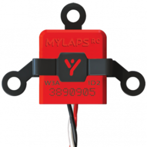 A typical Mylaps transponder with code